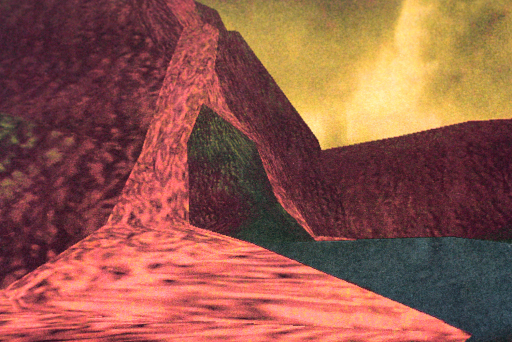Pokemon Snap graphic of bright red lava and a volcano under a yellow sky