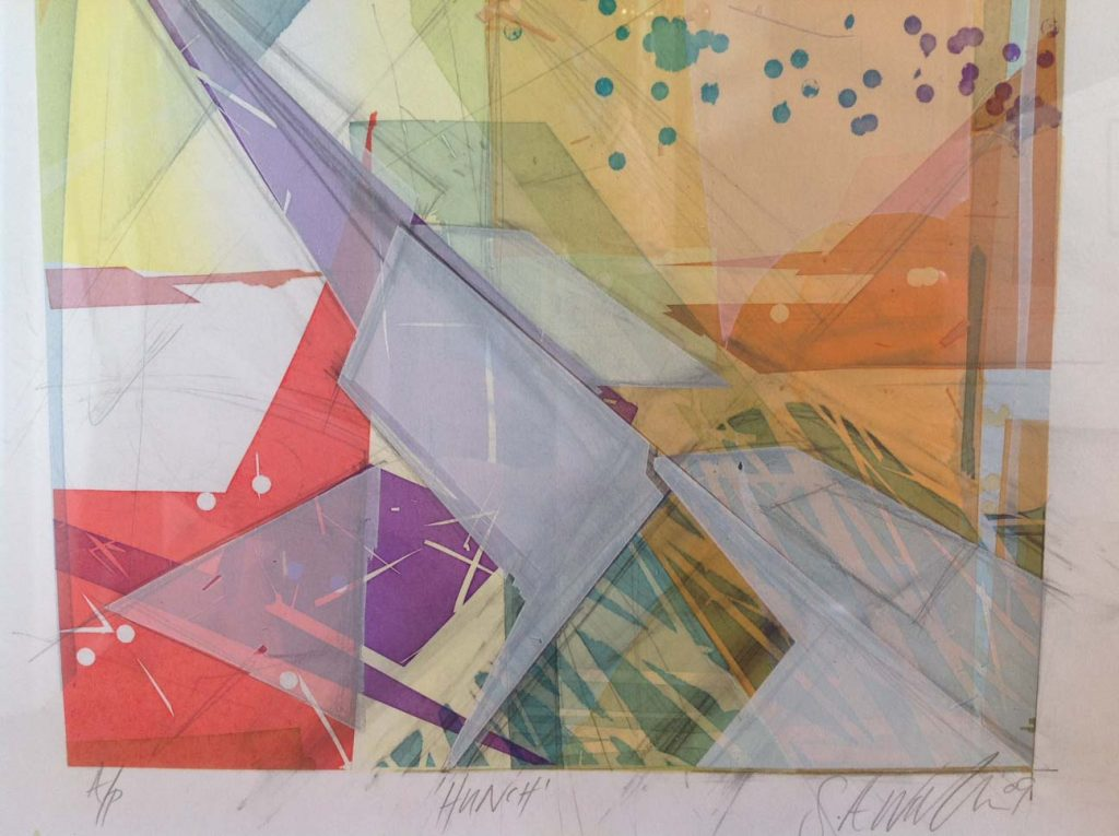 A Screenprint showing examples of transparent layered white colour.