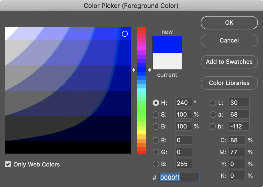 Adobe Photoshop Colour picker showing Web Colours and a hexadecimal value of 0000ff, which is intense 100% blue.