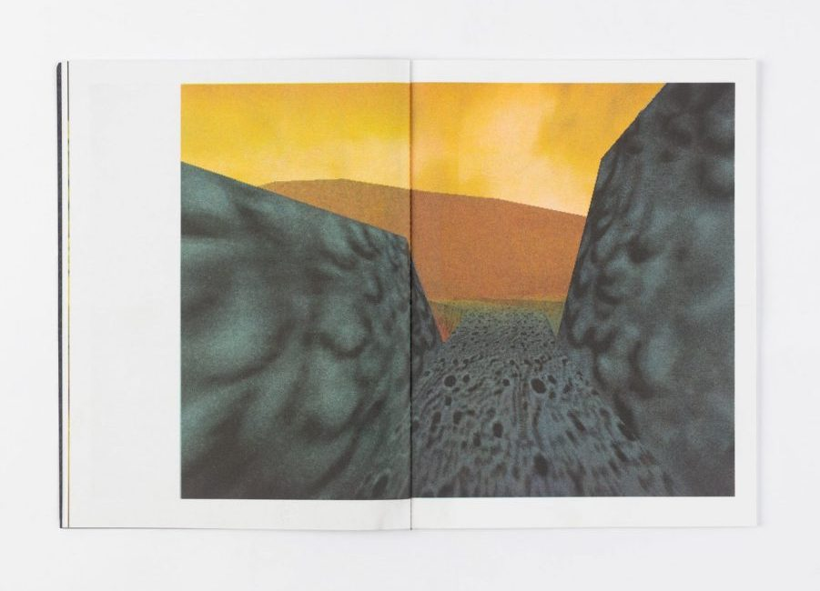 Spread of a publication showing Pokemon Snap graphic of a gravel road stretching towards an orange horizon