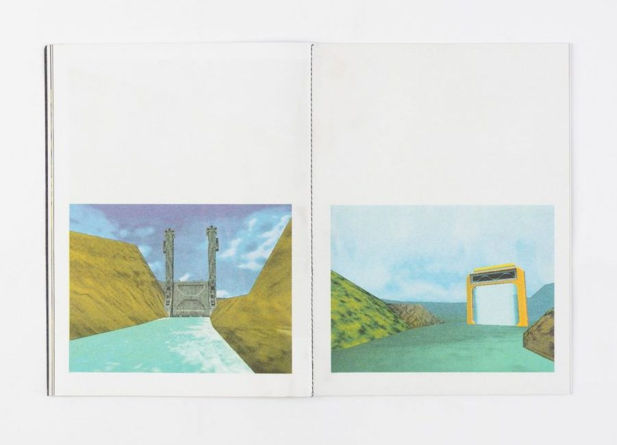 Spread with two Pokemon Snap images of gates on a river